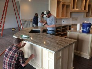 Installation of Granite at Edge Stoneworks