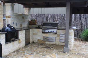 Outdoor kitchen granite tropic brown at Edge Stoneworks